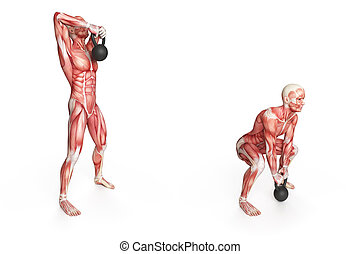 high pull - kettlebell exercise -  high pull