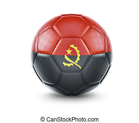 High qualitiy soccer ball with the flag of Angola rendering.(series)