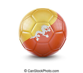 High qualitiy soccer ball with the flag of Bhutan rendering.(series)