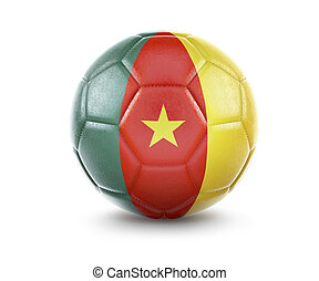 High qualitiy soccer ball with the flag of Cameroon rendering.(series)
