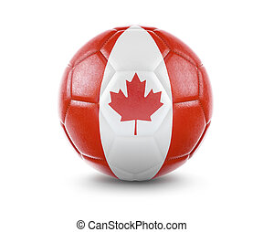 High qualitiy soccer ball with the flag of Canada rendering.(series)
