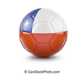 High qualitiy soccer ball with the flag of Chile rendering.(series)