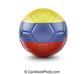 High qualitiy soccer ball with the flag of Colombia rendering.(series)