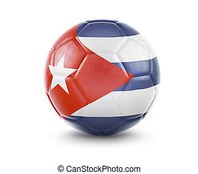 High qualitiy soccer ball with the flag of Cuba rendering.(series)
