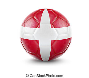 High qualitiy soccer ball with the flag of Denmark rendering.(series)