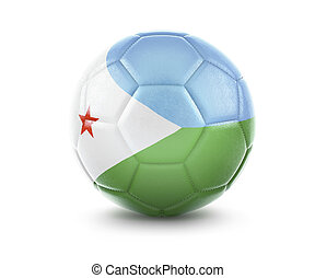 High qualitiy soccer ball with the flag of Djibouti rendering.(series)