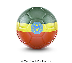High qualitiy soccer ball with the flag of Ethiopia rendering.(series)