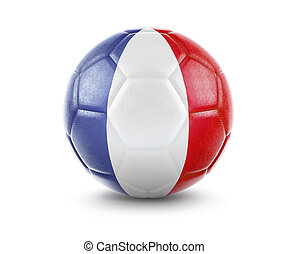 High qualitiy soccer ball with the flag of France rendering.(series)