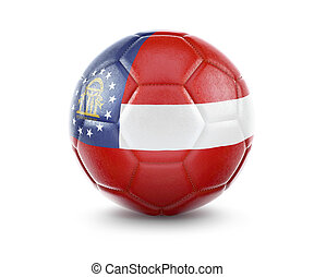 High qualitiy soccer ball with the flag of Georgia rendering.(series)