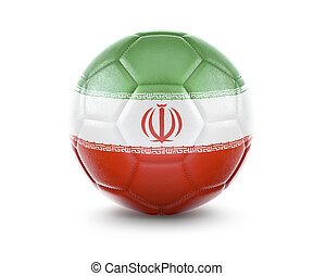 High qualitiy soccer ball with the flag of Iran rendering.(series)