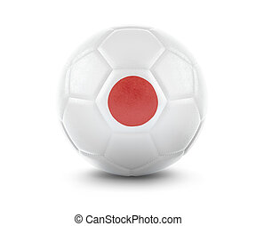 High qualitiy soccer ball with the flag of Japan rendering.(series)