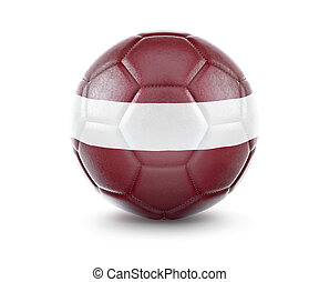 High qualitiy soccer ball with the flag of Latvia rendering.(series)