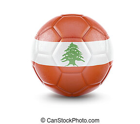 High qualitiy soccer ball with the flag of Lebanon rendering.(series)