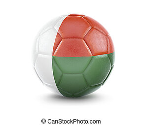 High qualitiy soccer ball with the flag of Madagascar rendering.(series)