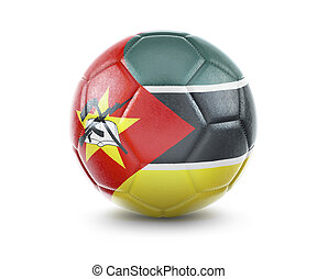 High qualitiy soccer ball with the flag of Mozambique rendering.(series)