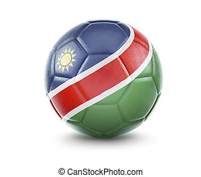 High qualitiy soccer ball with the flag of Namibia rendering.(series)