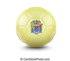 High qualitiy soccer ball with the flag of New Jersey rendering.(series)