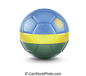 High qualitiy soccer ball with the flag of Rwanda rendering.(series)