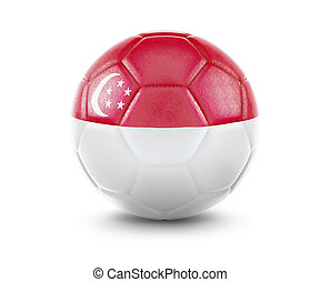 High qualitiy soccer ball with the flag of Singapore rendering.(series)