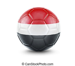 High qualitiy soccer ball with the flag of Yemen rendering.(series)
