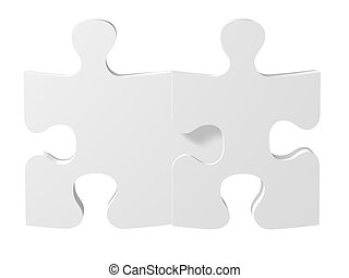 high quality 3d render of two puzzles, metaphoric image applicable to several concepts
