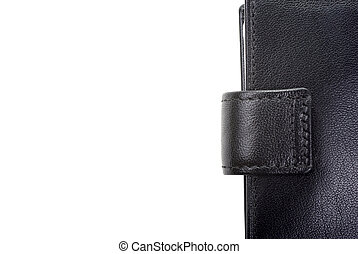 High quality black leather wallet isolated on white as background. Empty space for your design.