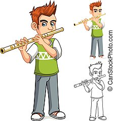 Boy Playing Flute Cartoon Character - High Quality Boy...