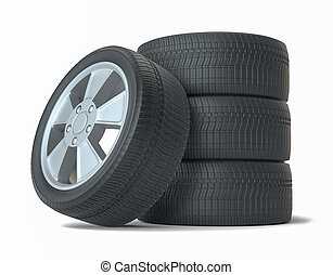 High Quality Car Wheels, Isolated
