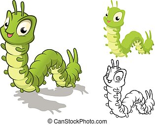 Detailed Caterpillar Cartoon