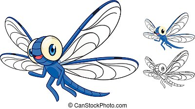 Detailed Dragonfly Cartoon