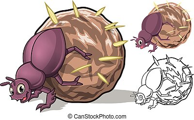 Detailed Dung Beetle Cartoon