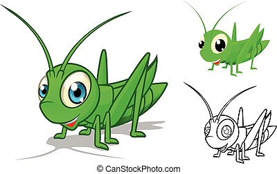 Detailed Grasshopper Cartoon