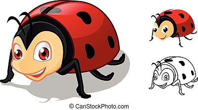 Detailed Ladybug Cartoon Character