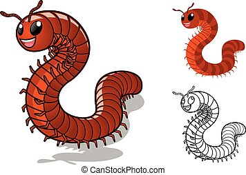 Detailed Millipede Cartoon