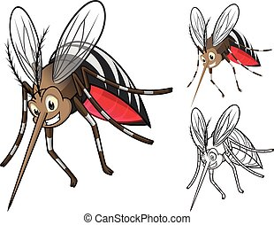 High Quality Detailed Mosquitoes Cartoon Character with Flat Design and Line Art Black and White Version Vector Illustration