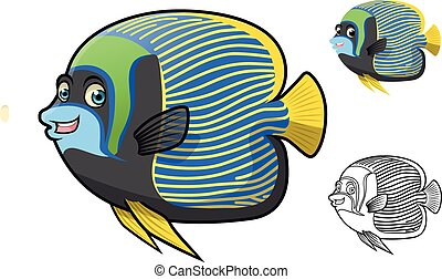 High Quality Emperor Angel Fish Cartoon Character Include Flat Design and Line Art Version