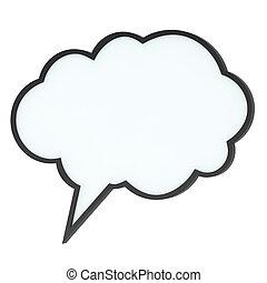 high-quality, etikett, anförande, tom, bubbla, eller, moln