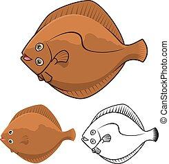 Flatfish Cartoon Character