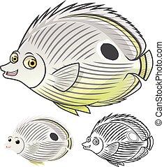 Four Eye Butterflyfish Cartoon - High Quality Four Eye...