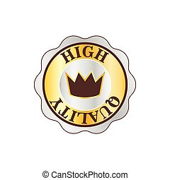 High quality golden label with crown icon