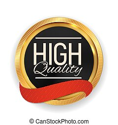 High Quality Golden Medal Icon Seal  Sign Isolated on White Background. Vector Illustration
