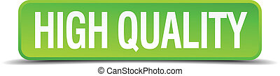 high quality green 3d realistic square isolated button