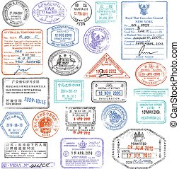 High Quality grunge Passport Stamp collection - A high...