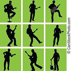 high quality guitar player silhouette set