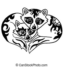High quality illustration of two cute racoons