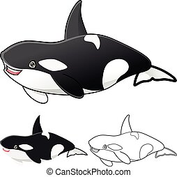 High Quality Killer Whale Orca Cartoon Character include Flat Design and Line Art Version