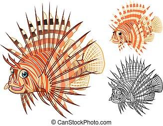 Lionfish Cartoon Character