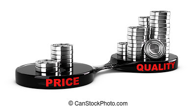 High Quality, Low Cost - Price vs quality concept, abstract...