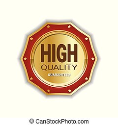 High Quality Medal Badge Golden Icon Guaranteed Seal Sign Isolated