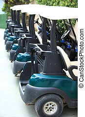 High quality modern golf carts vertically aligned
